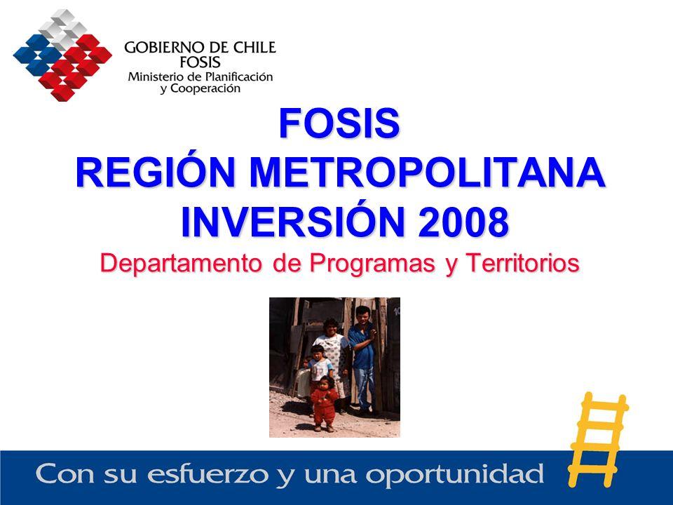 FOSIS REGIÓN METROPOLITANA INVERSIÓN 2008 Departamento de Programas y Territorios
