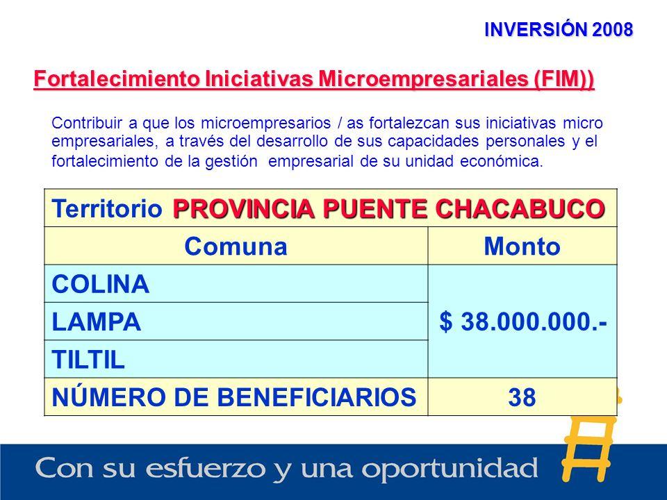 INVERSIÓN 2008 Fortalecimiento Iniciativas Microempresariales (FIM)) PROVINCIA PUENTE CHACABUCO Territorio PROVINCIA PUENTE CHACABUCO ComunaMonto COLI