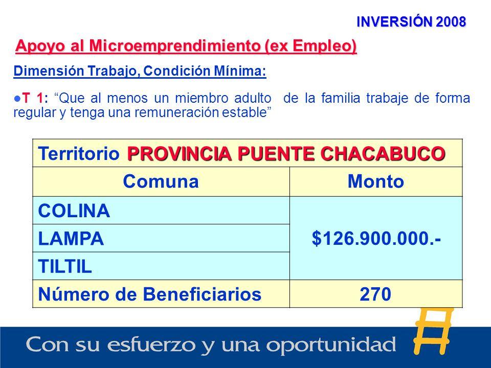 INVERSIÓN 2008 Apoyo al Microemprendimiento (ex Empleo) Dimensión Trabajo, Condición Mínima: T 1: Que al menos un miembro adulto de la familia trabaje