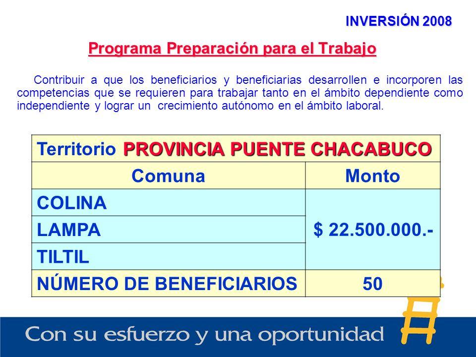 INVERSIÓN 2008 Programa Preparación para el Trabajo PROVINCIA PUENTE CHACABUCO Territorio PROVINCIA PUENTE CHACABUCO ComunaMonto COLINA $ 22.500.000.- LAMPA TILTIL NÚMERO DE BENEFICIARIOS50 Contribuir a que los beneficiarios y beneficiarias desarrollen e incorporen las competencias que se requieren para trabajar tanto en el ámbito dependiente como independiente y lograr un crecimiento autónomo en el ámbito laboral.