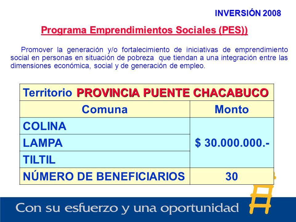 INVERSIÓN 2008 Programa Emprendimientos Sociales (PES)) PROVINCIA PUENTE CHACABUCO Territorio PROVINCIA PUENTE CHACABUCO ComunaMonto COLINA $ 30.000.000.- LAMPA TILTIL NÚMERO DE BENEFICIARIOS30 Promover la generación y/o fortalecimiento de iniciativas de emprendimiento social en personas en situación de pobreza que tiendan a una integración entre las dimensiones económica, social y de generación de empleo.