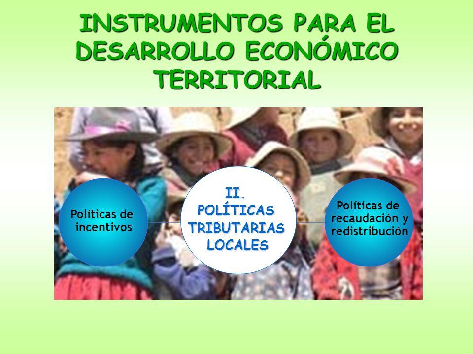 INSTRUMENTOS PARA EL DESARROLLO ECONÓMICO TERRITORIAL II.POLÍTICASTRIBUTARIASLOCALES Políticas de incentivos Políticas de recaudación y redistribución