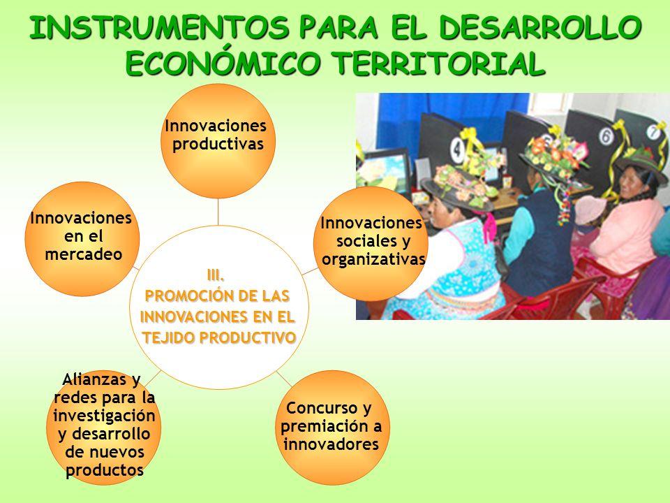 INSTRUMENTOS PARA EL DESARROLLO ECONÓMICO TERRITORIAL III. PROMOCIÓN DE LAS INNOVACIONES EN EL TEJIDO PRODUCTIVO Innovaciones en el mercadeo Innovacio