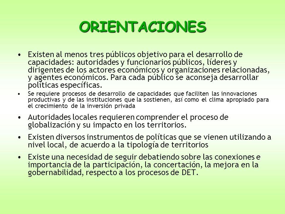 ORIENTACIONES Existen al menos tres públicos objetivo para el desarrollo de capacidades: autoridades y funcionarios públicos, líderes y dirigentes de