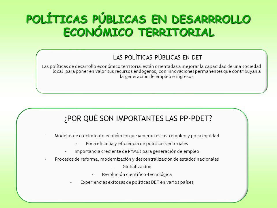 POLÍTICAS PÚBLICAS EN DESARRROLLO ECONÓMICO TERRITORIAL LAS POLÍTICAS PÚBLICAS EN DET Las políticas de desarrollo económico territorial están orientad