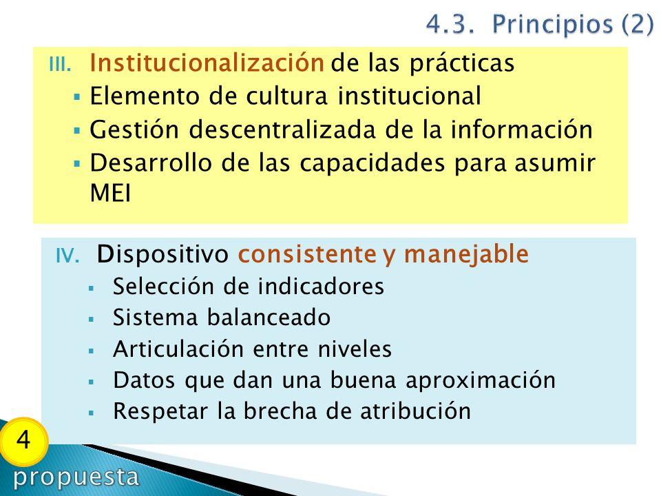 III. Institucionalización de las prácticas Elemento de cultura institucional Gestión descentralizada de la información Desarrollo de las capacidades p