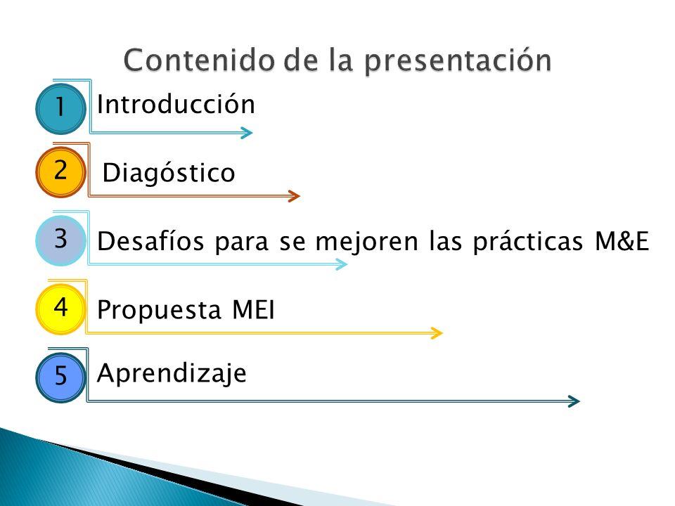 Introducción Diagóstico Desafíos para se mejoren las prácticas M&E Propuesta MEI Aprendizaje 1 2 3 4 5