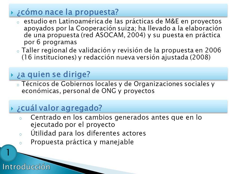 ¿cómo nace la propuesta? o estudio en Latinoamérica de las prácticas de M&E en proyectos apoyados por la Cooperación suiza; ha llevado a la elaboració