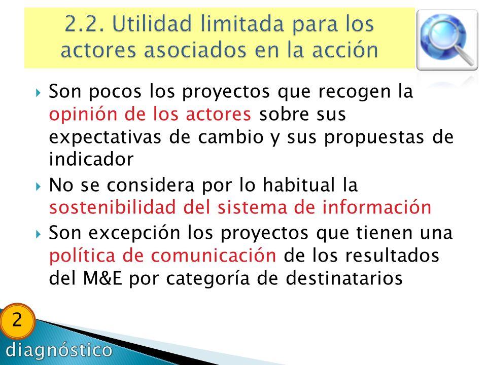 Son pocos los proyectos que recogen la opinión de los actores sobre sus expectativas de cambio y sus propuestas de indicador No se considera por lo ha