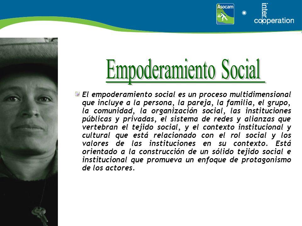 El empoderamiento social es un proceso multidimensional que incluye a la persona, la pareja, la familia, el grupo, la comunidad, la organización socia