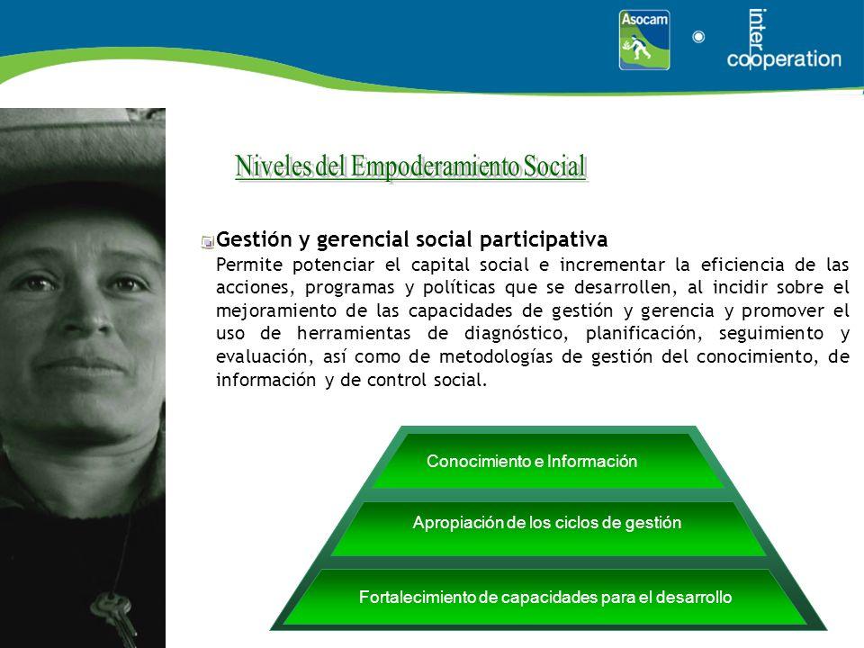 Gestión y gerencial social participativa Permite potenciar el capital social e incrementar la eficiencia de las acciones, programas y políticas que se