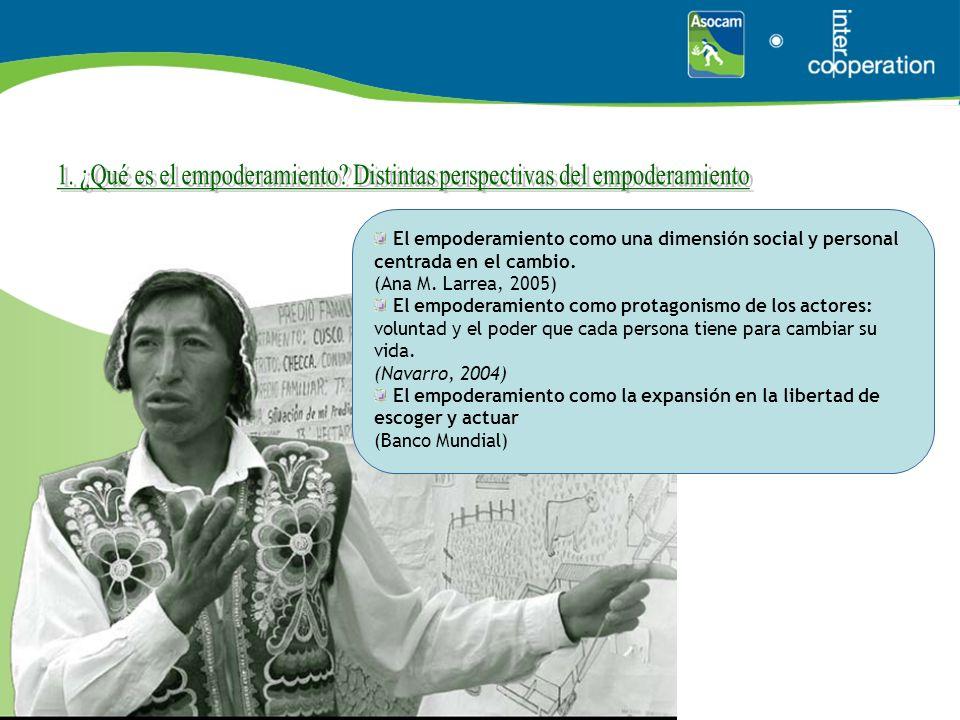 El empoderamiento como una dimensión social y personal centrada en el cambio. (Ana M. Larrea, 2005) El empoderamiento como protagonismo de los actores