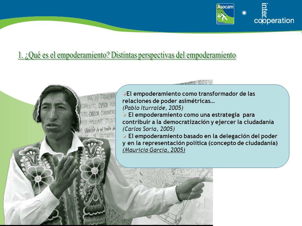 El empoderamiento como transformador de las relaciones de poder asimétricas… (Pablo Iturralde, 2005) El empoderamiento como una estrategia para contri
