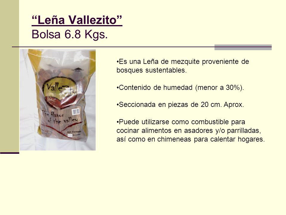 Leña Vallezito Bolsa 6.8 Kgs. Es una Leña de mezquite proveniente de bosques sustentables. Contenido de humedad (menor a 30%). Seccionada en piezas de