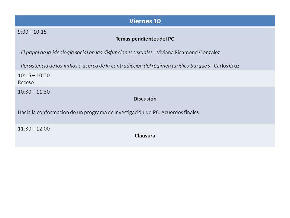 Viernes 10 9:00 – 10:15 Temas pendientes del PC - El papel de la ideología social en las disfunciones sexuales - Viviana Richmond González - Persisten