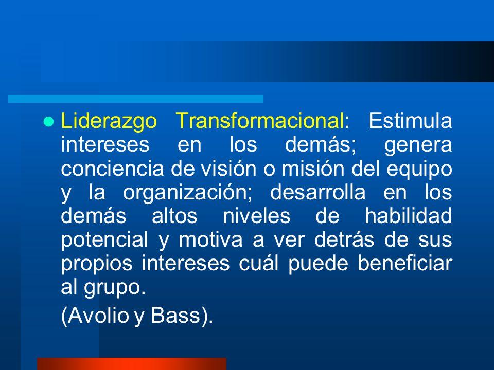 Liderazgo Transformacional: Estimula intereses en los demás; genera conciencia de visión o misión del equipo y la organización; desarrolla en los demá