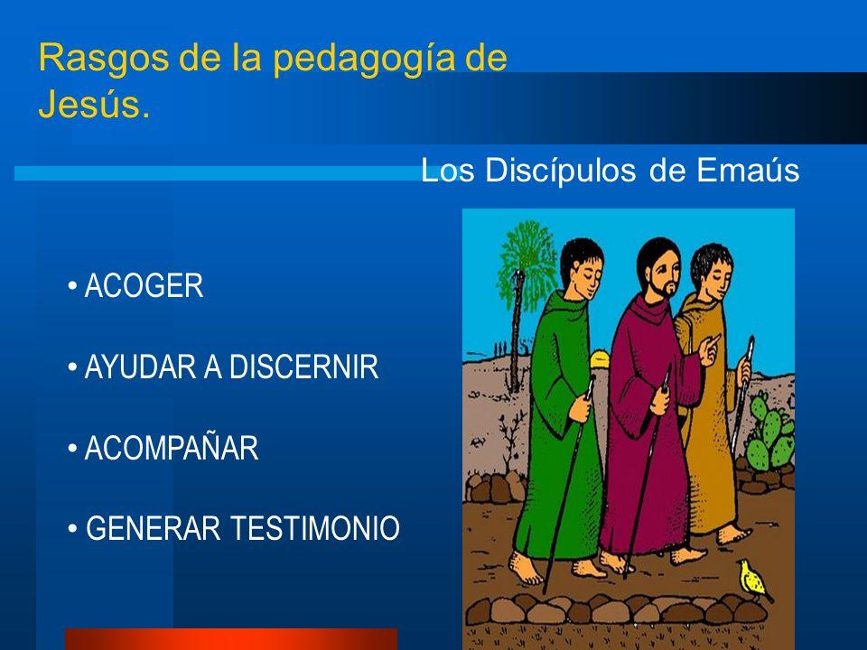 Rasgos de la pedagogía de Jesús. Los Discípulos de Emaús ACOGER AYUDAR A DISCERNIR ACOMPAÑAR GENERAR TESTIMONIO