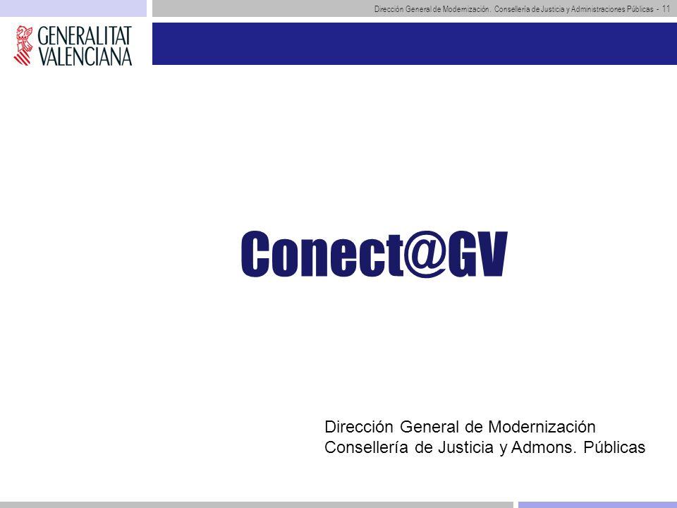 Dirección General de Modernización. Consellería de Justicia y Administraciones Públicas - 11 Conect@GV Dirección General de Modernización Consellería