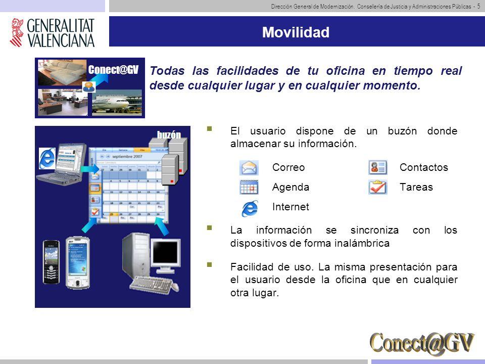 Dirección General de Modernización. Consellería de Justicia y Administraciones Públicas - 5 Movilidad El usuario dispone de un buzón donde almacenar s