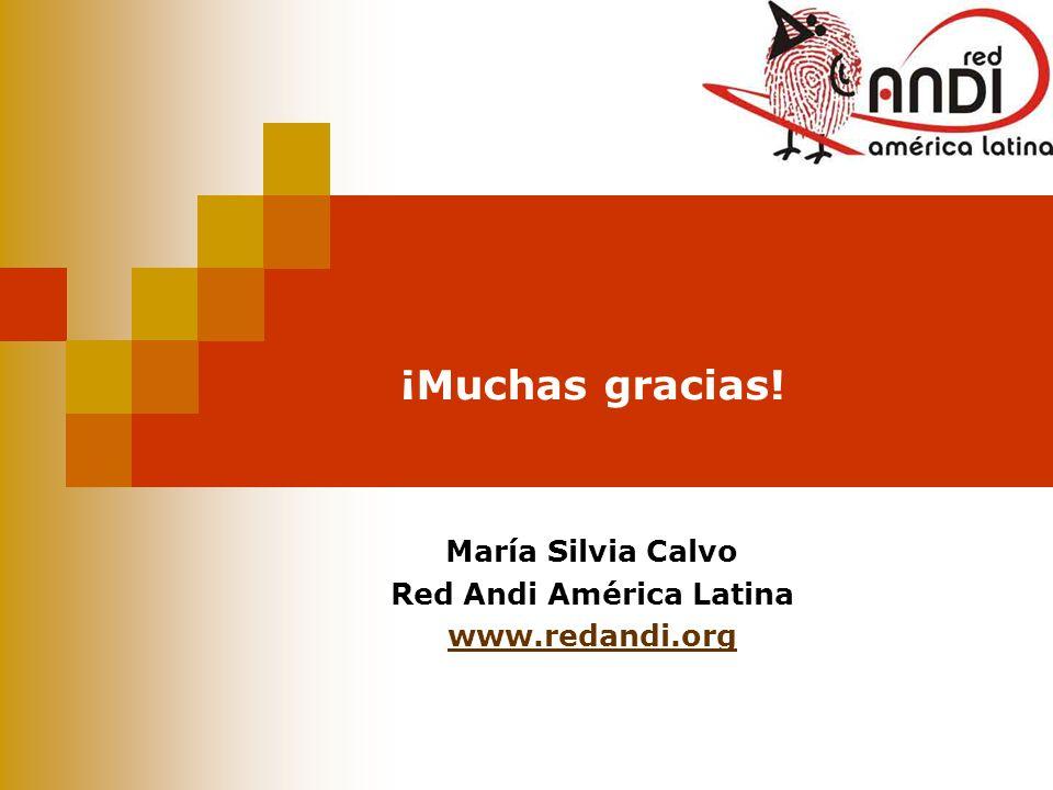 ¡Muchas gracias! María Silvia Calvo Red Andi América Latina www.redandi.org