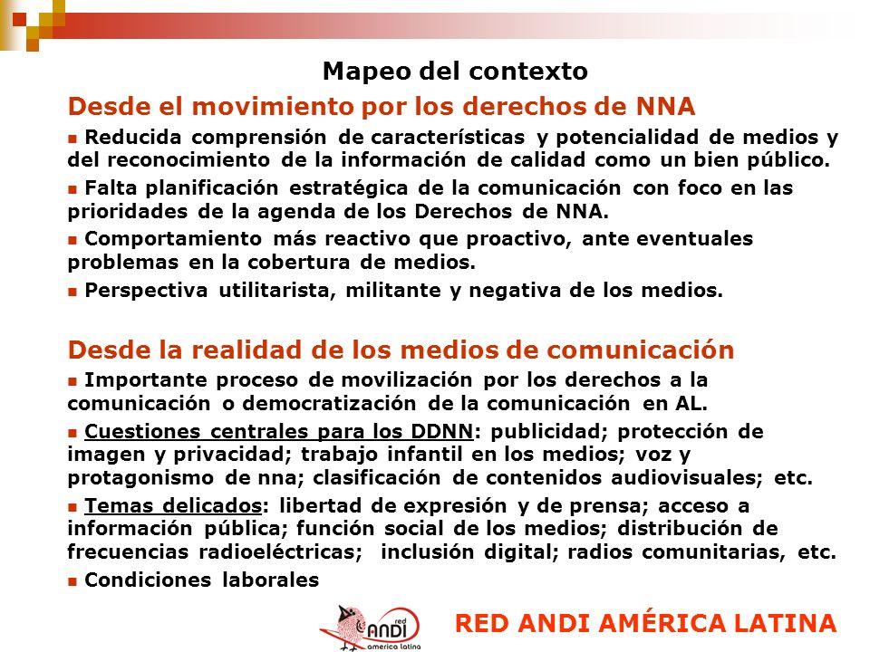Mapeo del contexto Desde el movimiento por los derechos de NNA Reducida comprensión de características y potencialidad de medios y del reconocimiento