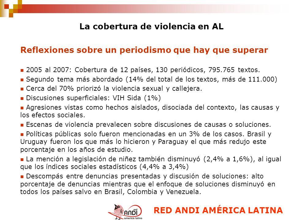 La cobertura de violencia en AL Reflexiones sobre un periodismo que hay que superar 2005 al 2007: Cobertura de 12 países, 130 periódicos, 795.765 text