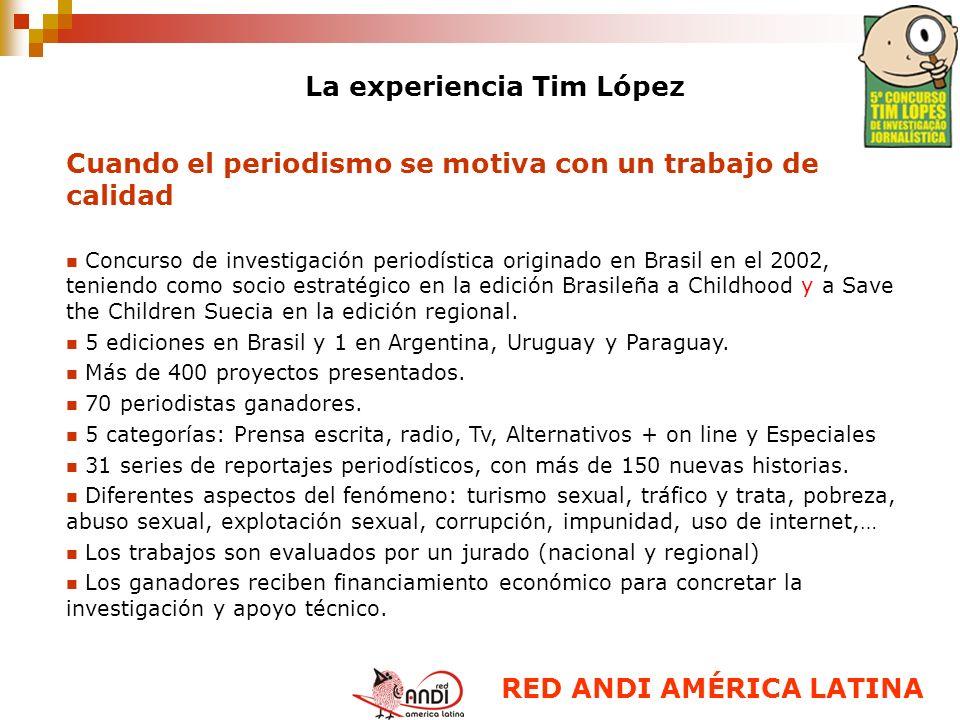 La experiencia Tim López Cuando el periodismo se motiva con un trabajo de calidad Concurso de investigación periodística originado en Brasil en el 200