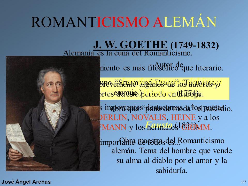 José Ángel Arenas 9 TENDENCIAS El Romanticismo es un movimiento tan amplio que debemos hablar de dos tendencias: ROMANTICISMO CONSERVADOR ROMANTICISMO