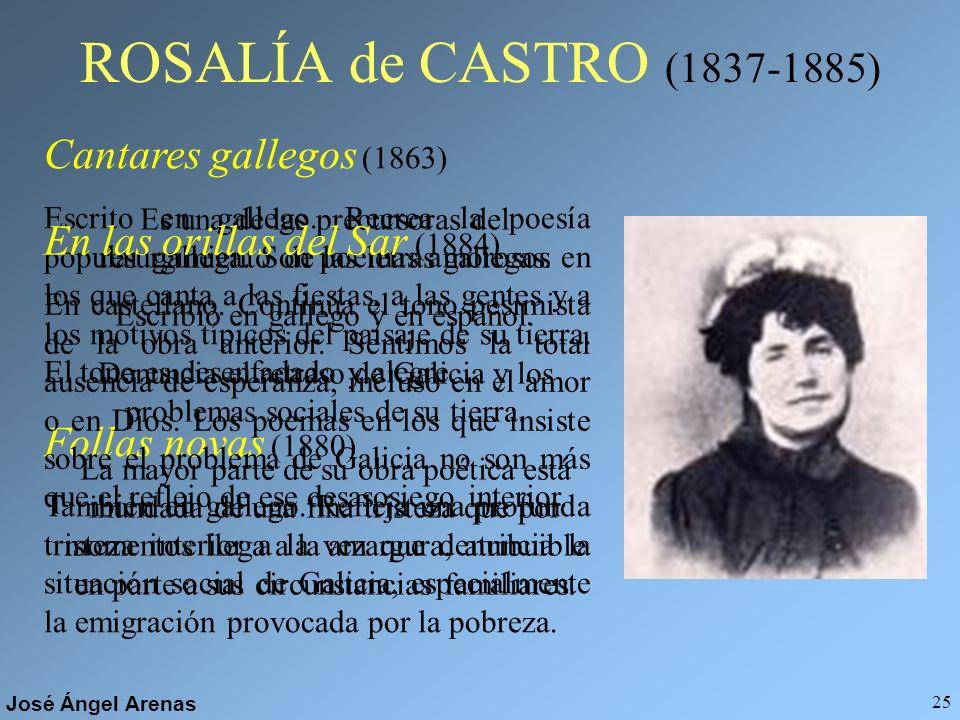 José Ángel Arenas 24 Gustavo Adolfo BÉCQUER (1836-1870) POESÍA Libro de los gorriones o Rimas (1871) Las Rimas se ordenaron en cuatro grupos temáticos