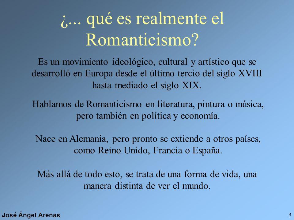 José Ángel Arenas 2 ¿Qué es para ti algo ROMÁNTICO? Aparece siempre asociado a los sentimientos, especialmente al amor, y a una sensibilidad especial,