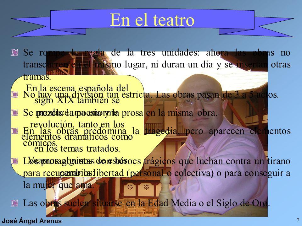 José Ángel Arenas 6 En la prosa NOVELA HISTÓRICA Relatos ambientados en épocas pasadas, especialmente en la Edad Media RELATO FANTÁSTICO Historias fan