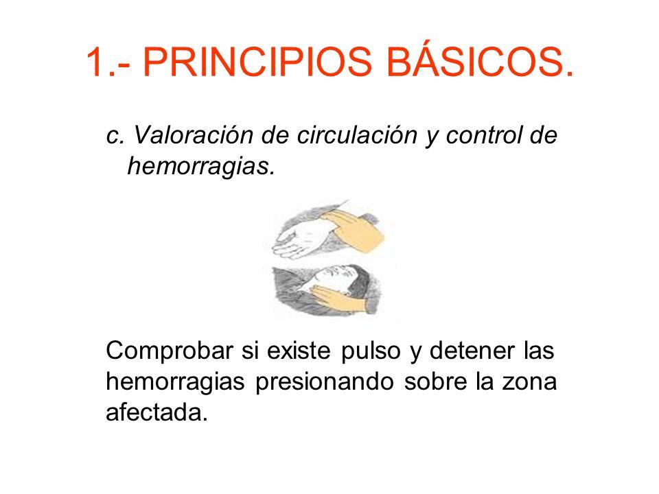 1.- PRINCIPIOS BÁSICOS. b. Valoración de la respiración. Se comprueba la respiración mediante la maniobra VER-OIR- SENTIR.