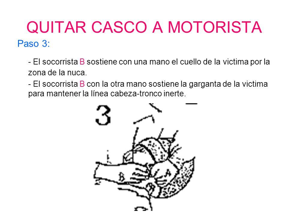 QUITAR CASCO A MOTORISTA Paso 2: - El socorrista B se coloca en un lateral y desabrocha el casco.