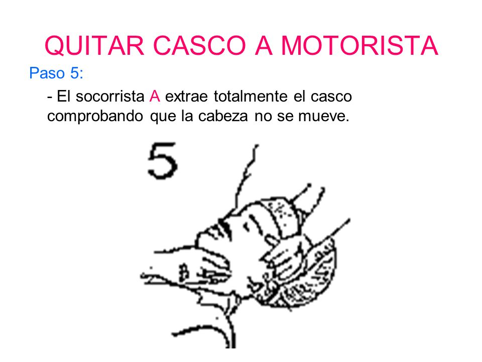 QUITAR CASCO A MOTORISTA Paso 4: - El socorrista A tira ligeramente del casco hacia su posición.