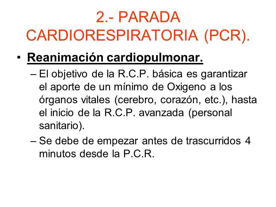 2.- PARADA CARDIORESPIRATORIA (PCR) Introducción. –Es el cese súbito, inesperado y potencialmente reversible de la respiración y circulación espontáne