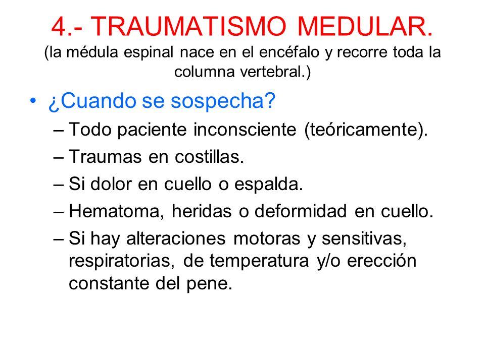 3.- TRAUMATISMO CRANEOENCEFALICO. ¿Que hacer? –Asegurar vía aérea. –Control pulso, hemorragias y columna cervical. –Establecer nivel de consciencia. –