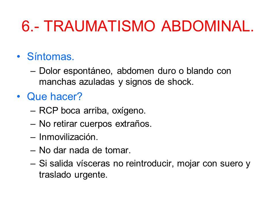 5.- TRAUMATISMO TORÁCICO. Las fracturas costales son las más frecuentes. Síntomas. –Dolor, dificultad para respirar, sangre al toser, shock, color azu