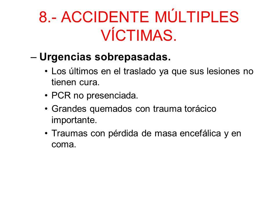 8.- ACCIDENTE MÚLTIPLES VÍCTIMAS. –Urgencias relativas. Al acabar con los anteriores. Medidas simples de cuidados (heridas, vendaje…) Fracturas abiert