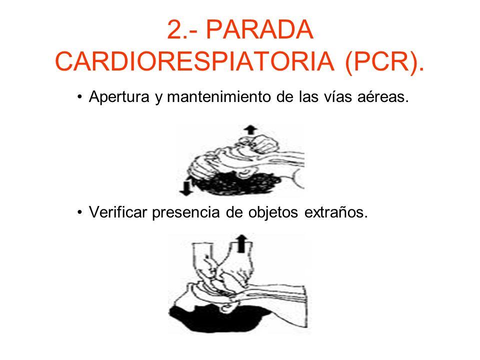 2.- PARADA CARDIORESPIRATORIA (PCR). En pacientes conscientes hacer exploración secundaria. Pedir ayuda. Colocar en posición de RCP o de seguridad.