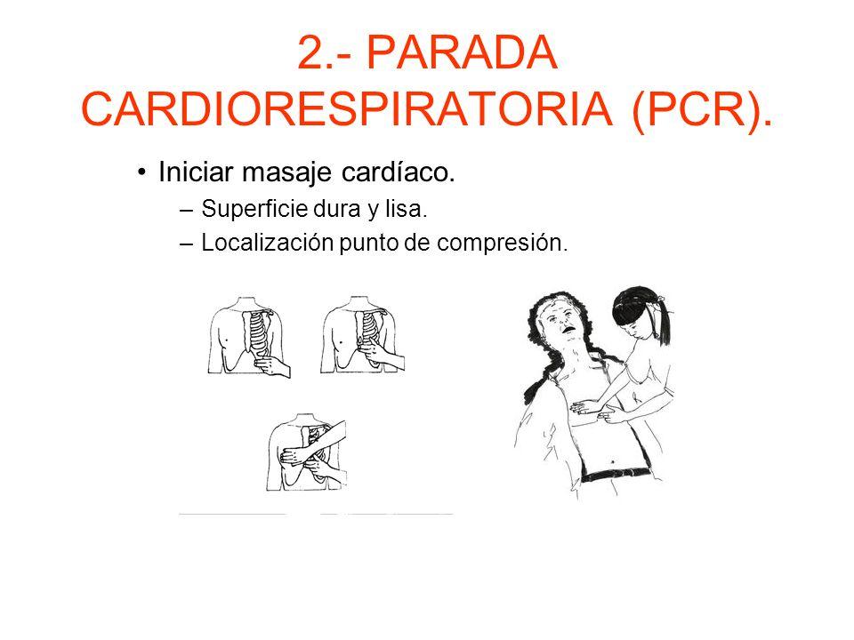 2.- PARADA CARDIORESPIRATORIA (PCR). Determinar si existe parada cardiaca. –Comprobar si hay pulso carotídeo. –Si no hay pulso central seguir con prot