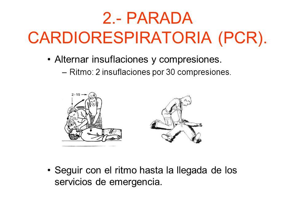 2.- PARADA CARDIORESPIRATORIA (PCR). Iniciar masaje cardíaco. –Superficie dura y lisa. –Localización punto de compresión.