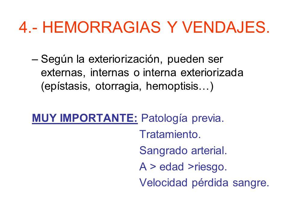 4.- HEMORRAGIAS Y VENDAJES. Salida de sangre de los vasos sanguíneos por rotura o alteración de paredes. Tipos: –Según el vaso, pueden ser arterial, v