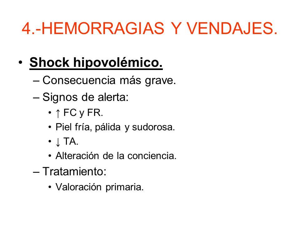 4.- HEMORRAGIAS Y VENDAJES. –Según la exteriorización, pueden ser externas, internas o interna exteriorizada (epístasis, otorragia, hemoptisis…) MUY I