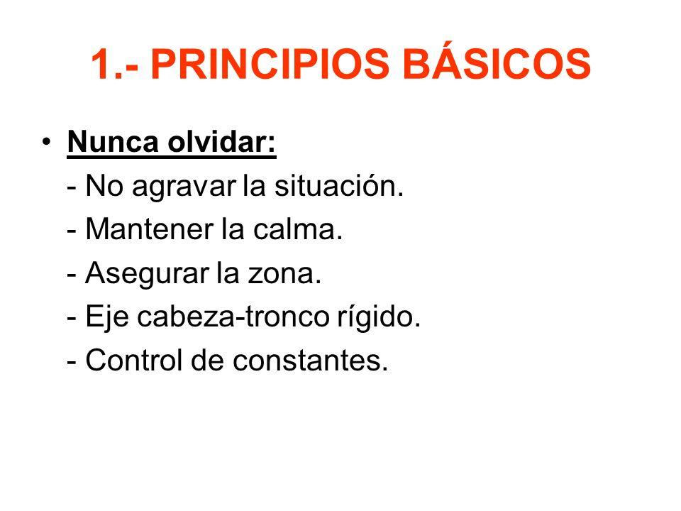 1.- PRINCIPIOS BÁSICOS Nunca olvidar: - No agravar la situación.
