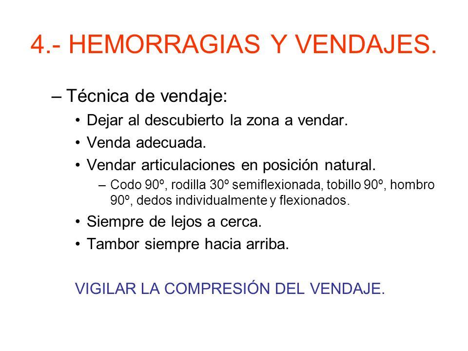 4.- HEMORRAGIAS Y VENDAJES. Vendajes. –Tipos de vendas: Triangulares, de escayola, elásticas, de gasa.
