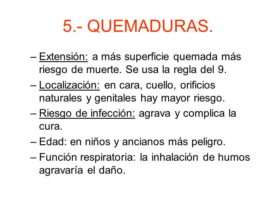 5.- QUEMADURAS. Segundo grado: –Afectan a la epidermis y a la dermis. –Ampollas con líquidos. –Dolorosas. Tercer grado: –Afecta a epidermis, dermis, h