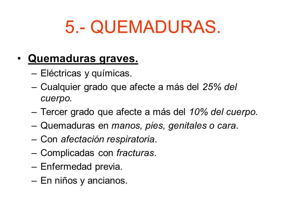 5.- QUEMADURAS. –Extensión: a más superficie quemada más riesgo de muerte. Se usa la regla del 9. –Localización: en cara, cuello, orificios naturales