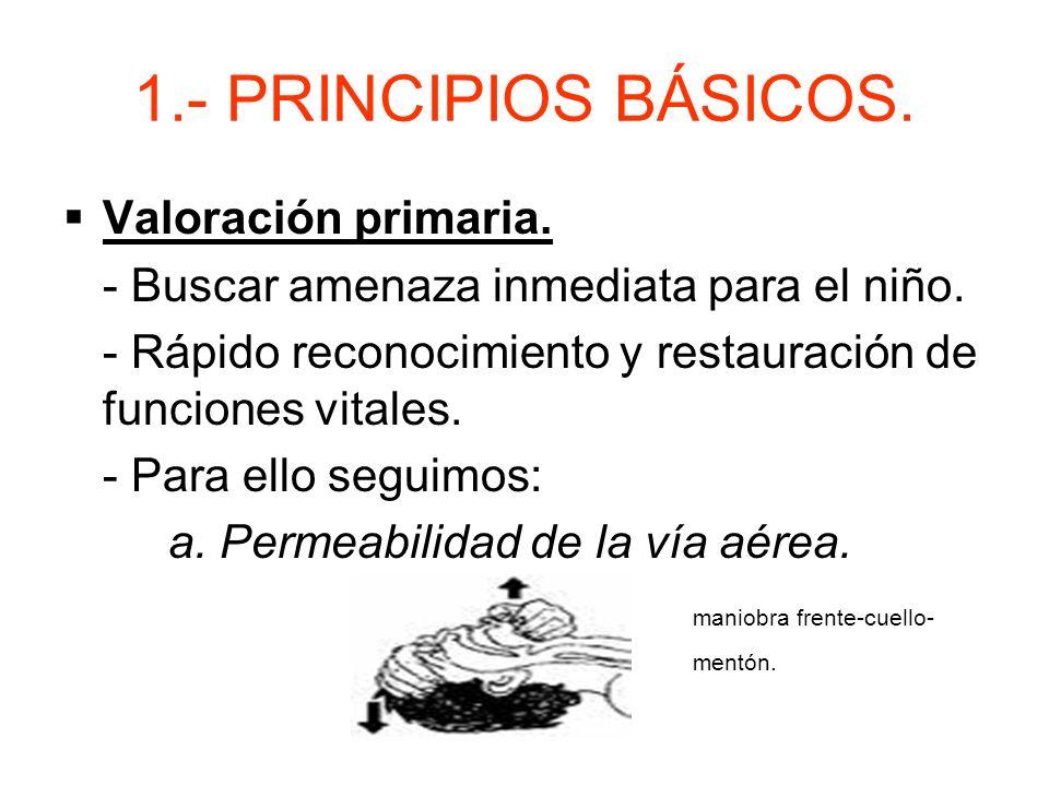 1.- PRINCIPIOS BÁSICOS.Valoración primaria. - Buscar amenaza inmediata para el niño.