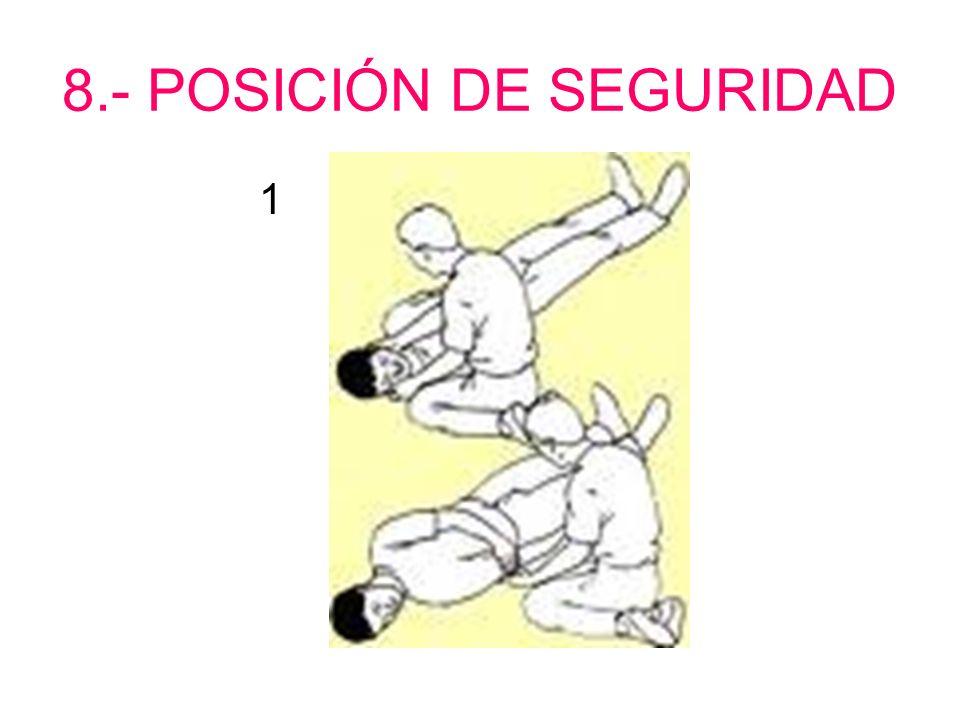 8.- POSICIÓN DE SEGURIDAD 1.- Se ladea la cabeza. 2.- Se coloca el brazo sobre el cuerpo. 3.- Se cruzan las piernas. 4.- Se rueda el cuerpo hacia el s