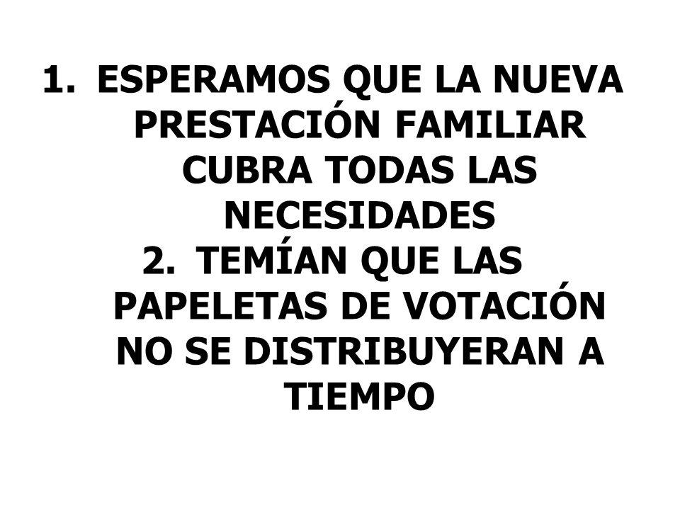 1.ESPERAMOS QUE LA NUEVA PRESTACIÓN FAMILIAR CUBRA TODAS LAS NECESIDADES 2.TEMÍAN QUE LAS PAPELETAS DE VOTACIÓN NO SE DISTRIBUYERAN A TIEMPO